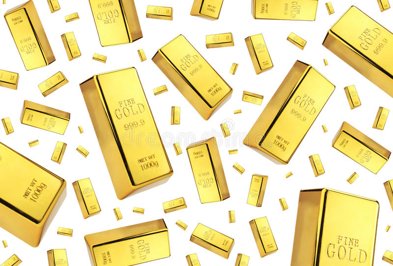 Pioggia delle barre di oro su fondo bianco fotografie stock
