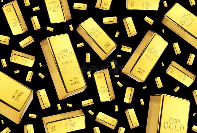 Pioggia delle barre di oro su fondo nero immagini stock