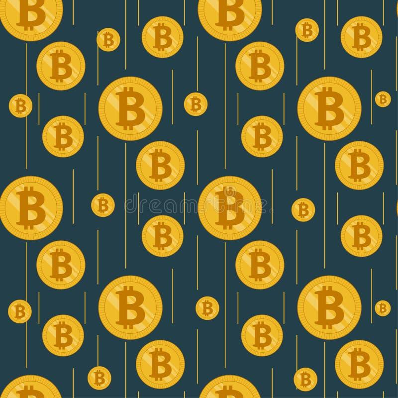 Pioggia dorata dei bitcoins su un fondo scuro royalty illustrazione gratis
