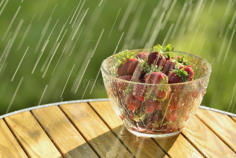 Pioggia e fragole di estate fotografie stock