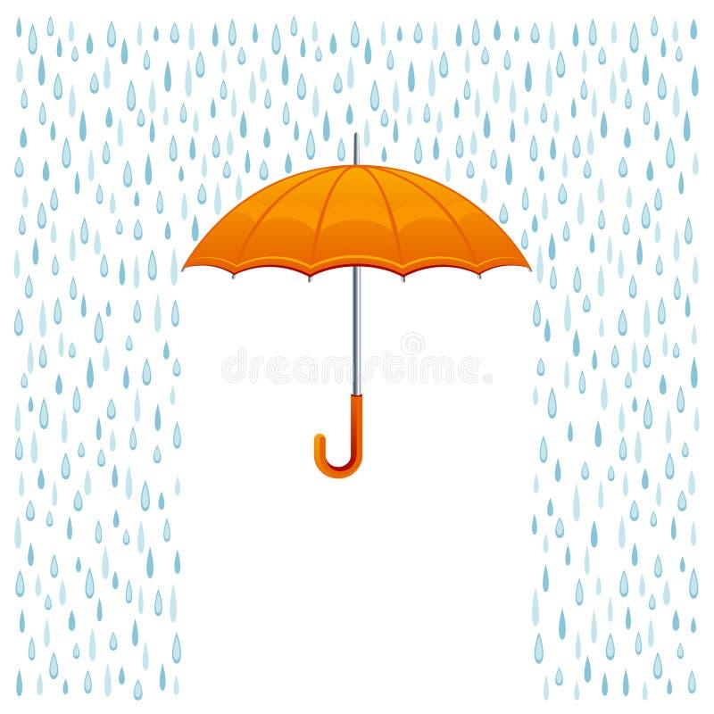 Pioggia ed ombrello illustrazione di stock