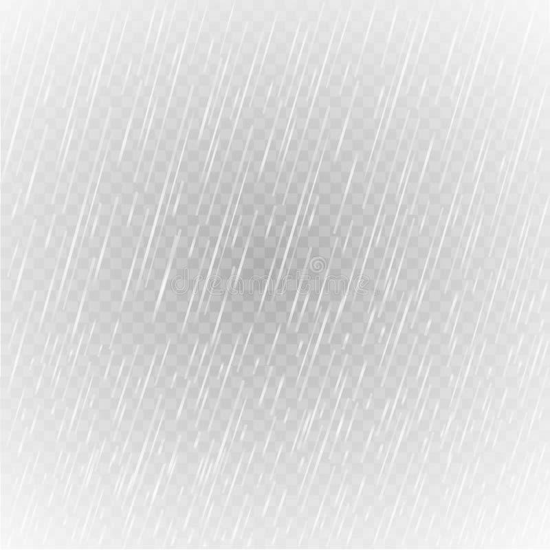 Pioggia realistica Puro, gocce dell'acqua pulita PIOGGIA DELL'ACQUA Illustrazione di vettore illustrazione vettoriale