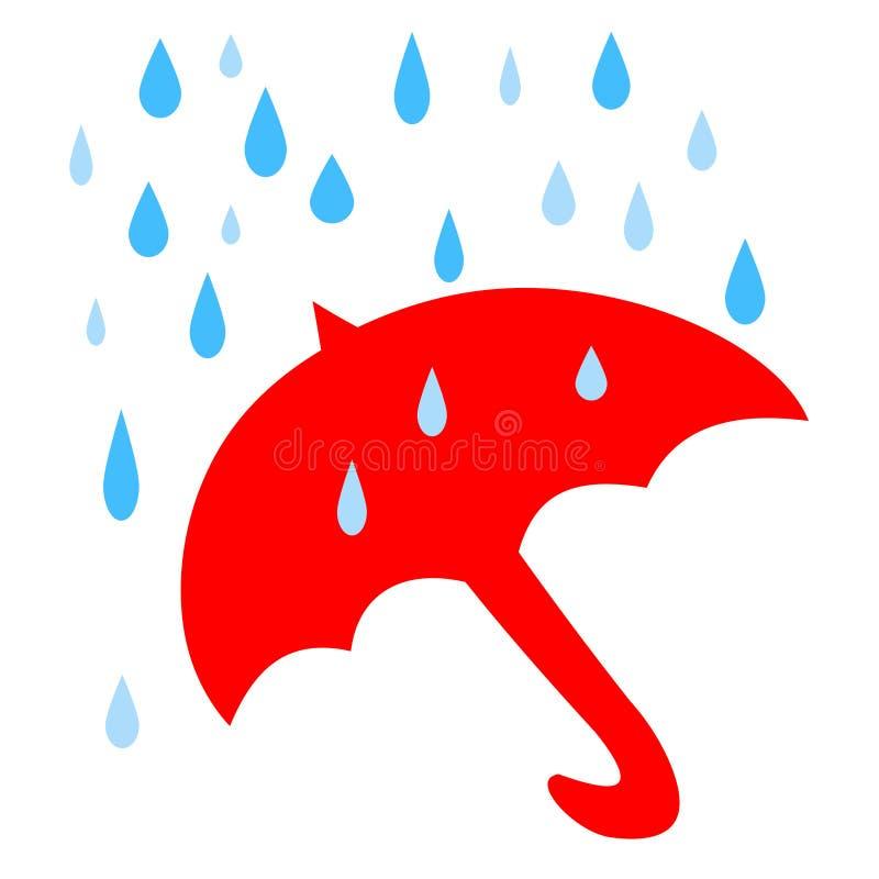 Pioggia rossa dell'ombrello illustrazione di stock