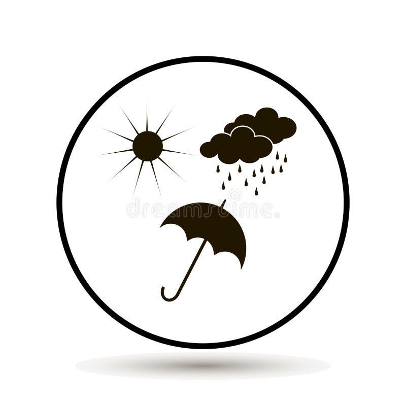 Pioggia, sole ed ombrello di estate L'ombrello protegge da pioggia o royalty illustrazione gratis