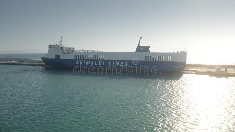 PIOMBINO, ITALY - JANUARY 2, 2019. Aerial view of Grimaldi Lines ro-ro cargo ship. PIOMBINO, ITALY - JANUARY 2, 2019. Aerial shot of Grimaldi Lines ship stock photo