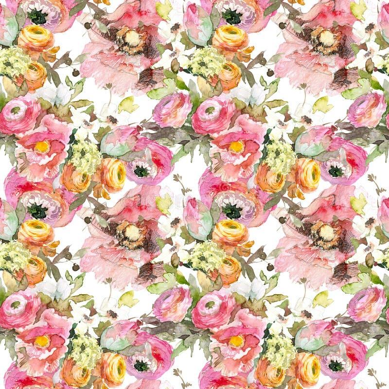 Pion med den sömlösa modellen för rosa vallmo och för orange ranunculus, klassisk blom- repetitionbakgrund för rengöringsduk och  vektor illustrationer