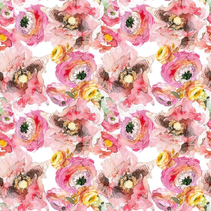 Pion med den sömlösa modellen för rosa vallmo och för orange ranunculus, klassisk blom- repetitionbakgrund för rengöringsduk och  stock illustrationer