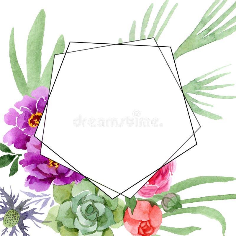 Pion och botanisk blomma för suckulent bukett Uppsättning för vattenfärgbakgrundsillustration Fyrkant för ramgränsprydnad stock illustrationer