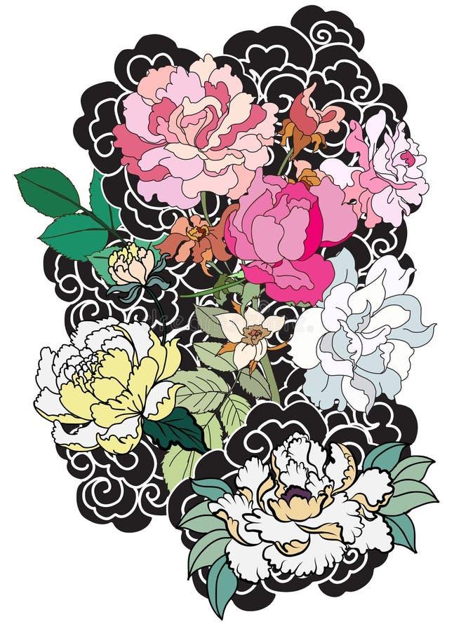 Pionblomma- och rostatuering på moln- och vågbakgrund Hand dragen japansk tatueringstil stock illustrationer