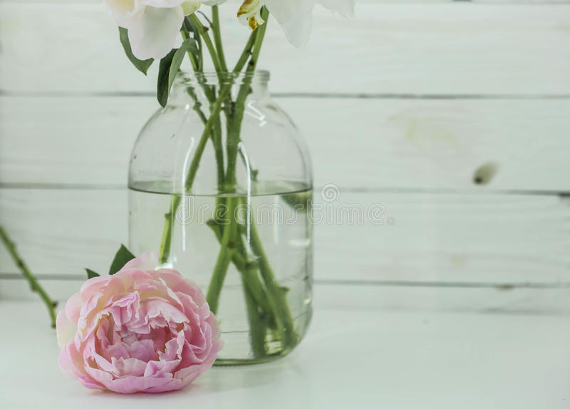 Pionblommor i den glass kruset på trävit bakgrund arkivfoton