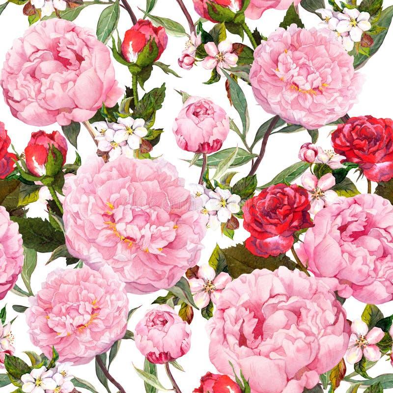 Pionblommor, röda rosor och sakura blom- seamless för bakgrund vattenfärg stock illustrationer