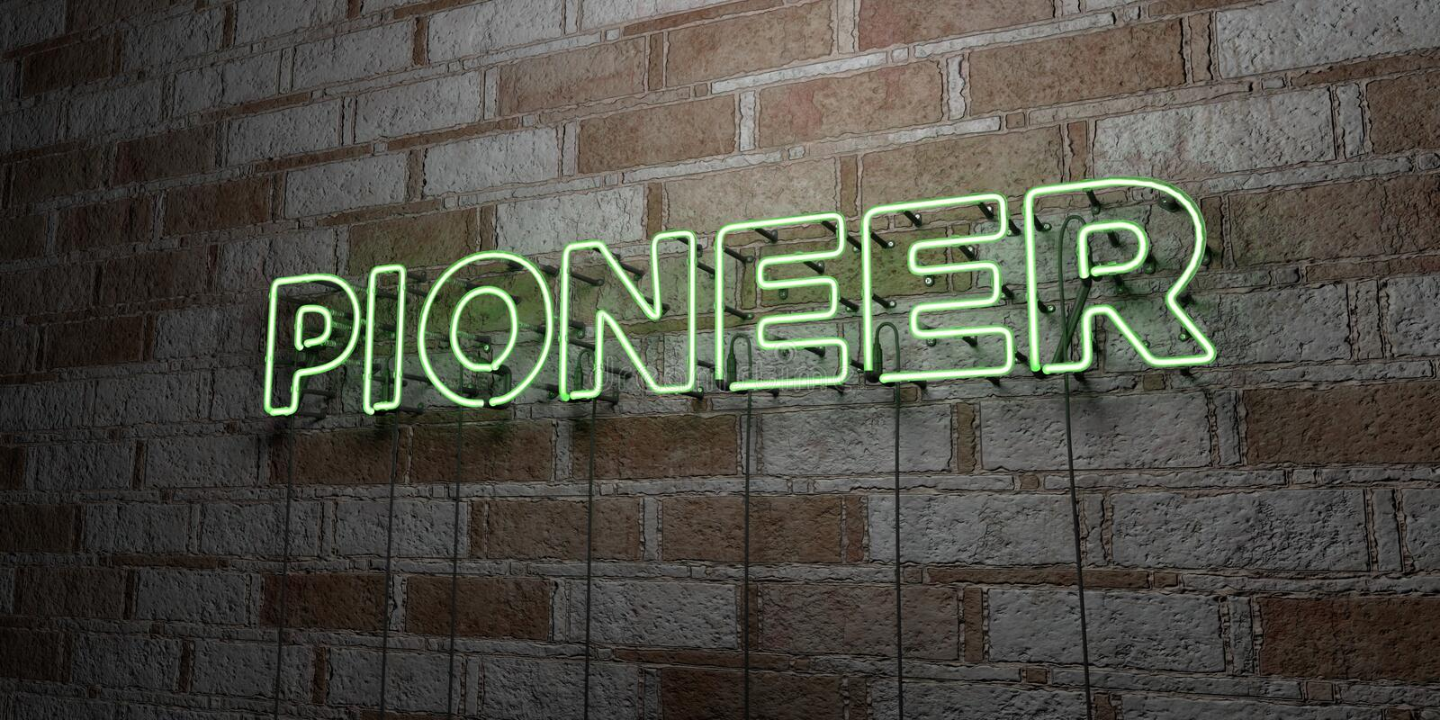 PIONEER - Glowing Neon Sign on stonework wall - 3D rendered royalty free stock illustration. Can be used for online banner ads and direct mailers stock illustration