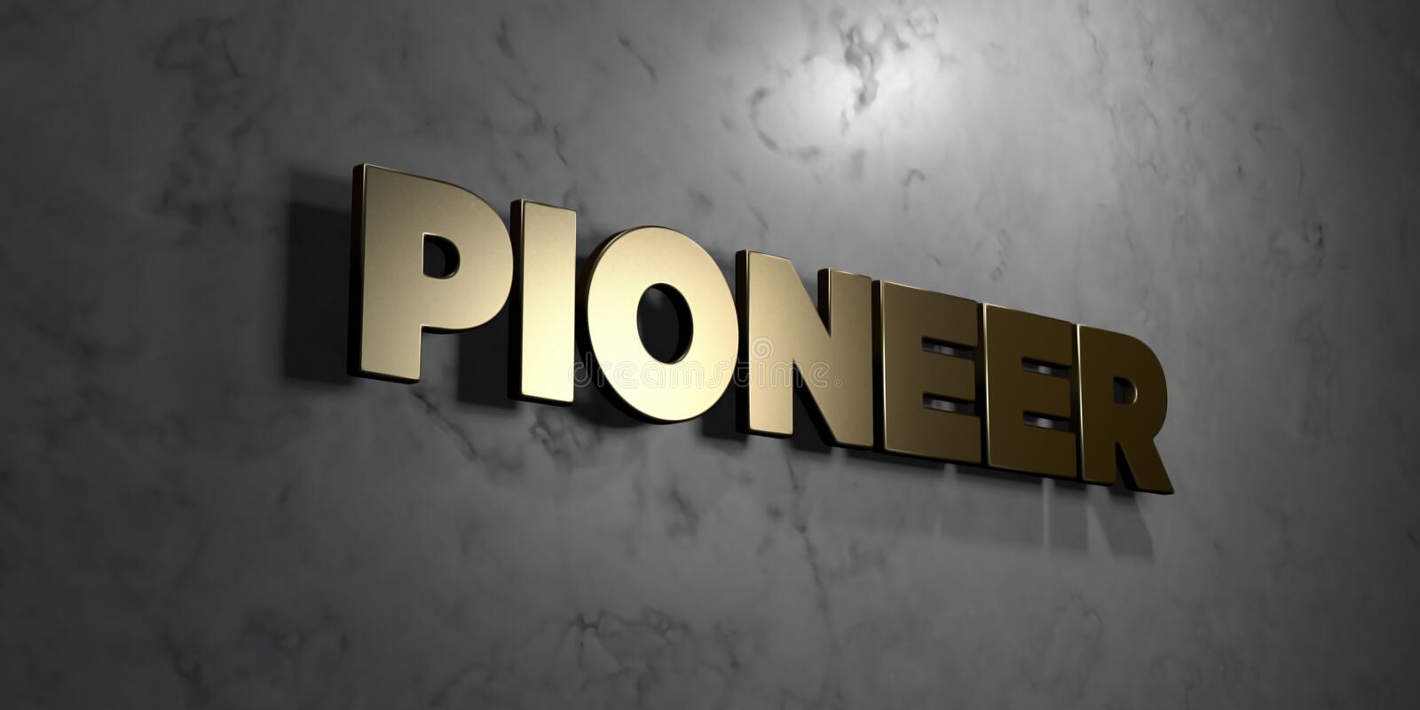 Pioneer - Gold sign mounted on glossy marble wall - 3D rendered royalty free stock illustration vector illustration