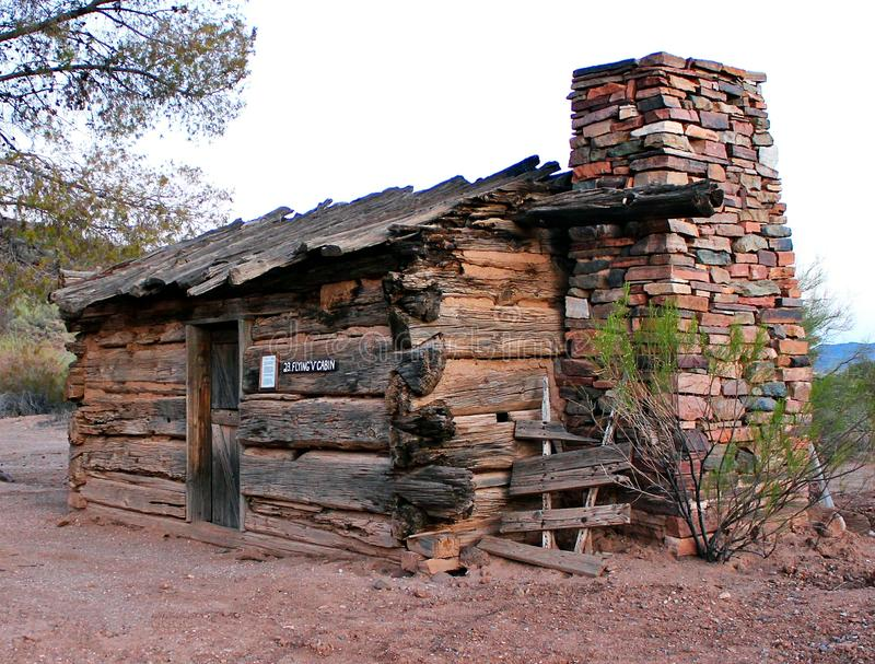 Old West Cabin. Authentic old west cabin at Pioneer AZ Village close to Anthem AZ. This cabin features gun slots and bullet holes from actual indian attacks royalty free stock images