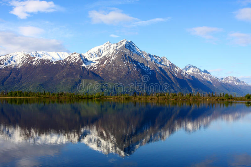 Pioneer Peak. Reflected in Jim Lake Alaska royalty free stock photos