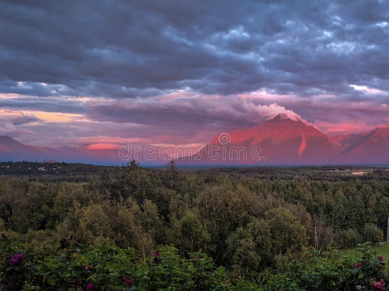 Pioneer Peak, Alaska. Wasilla sunset view of Pioneer Peak royalty free stock images