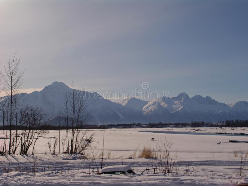 Pioneer Peak Mountain Palmer Alaska. Snow covered Pioneer Peak Mountain with Matanuska River in foreground in Palmer, Alaska stock images