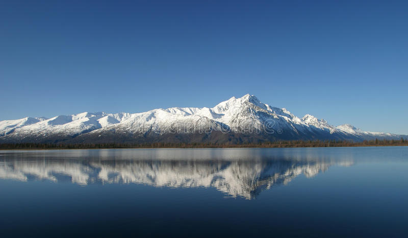Pioneer Peak Reflected. In Jim Lake Alaska stock photography