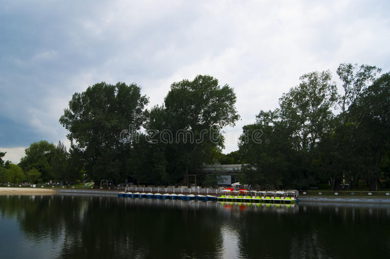 Pioneer Pond in Gorky Park stock photography