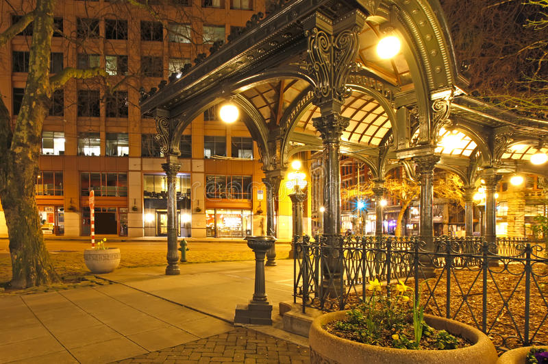 Download Pioneer Square In Seattle At Early Spring Night. Empty Street. Stock Photo - Image: 28475422