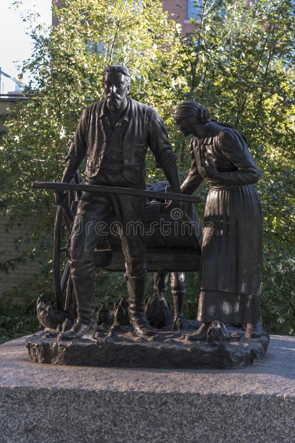Pioneers statue Temple Square Salt Lake City. Salt Lake Temple is the centerpiece of the 10-acre 4.0 ha Temple Square in Salt Lake City, Utah. The Salt Lake royalty free stock photography
