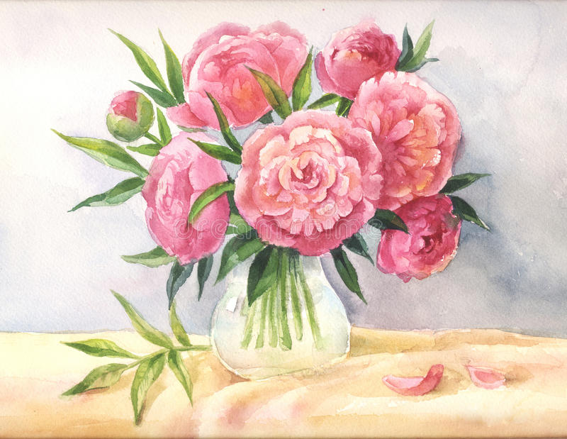 Pioner i en vasvattenfärg Skissa av rosa blommor vektor illustrationer