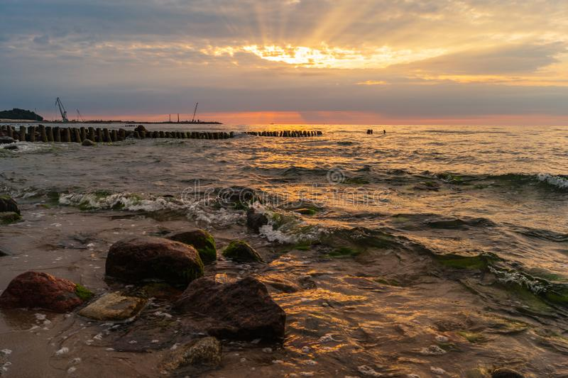 Pionerkiy Kaliningrad Oblast Sea Sunset. Sunset over the Baltic sea at Pionerkiy Kaliningrad Oblast in Russia royalty free stock images