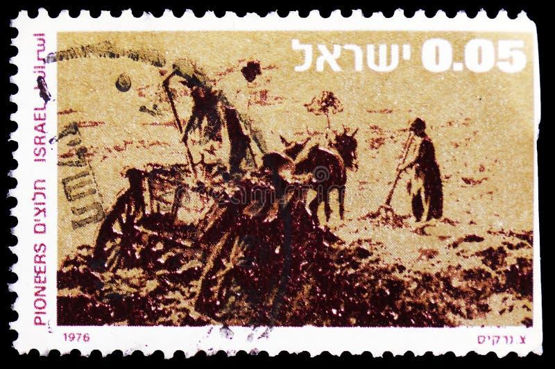 Pioneros que despejan la tierra, serie, circa 1976 imagen de archivo libre de regalías