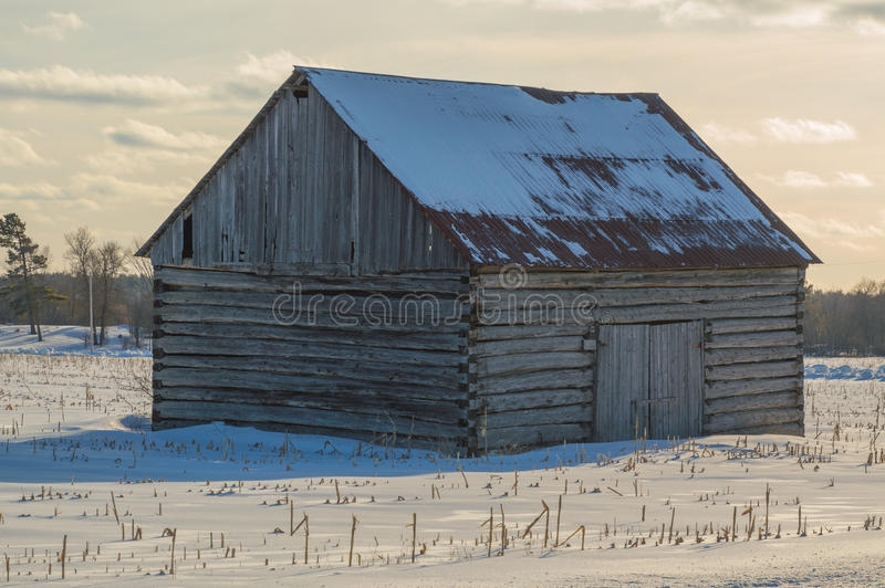 Pionier- Blockhausscheune in Ost-Ontario im Winter lizenzfreies stockbild