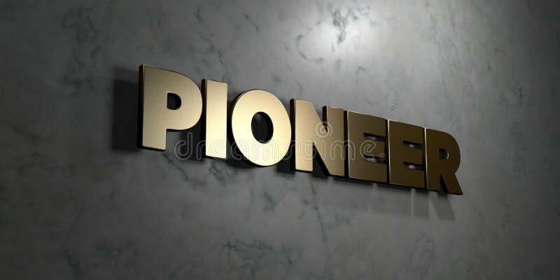 Pionier - Goldzeichen angebracht an der glatten Marmorwand - 3D übertrug freie Illustration der Abgabe auf Lager vektor abbildung