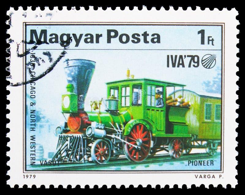 Pionier (1836), internationales Transport-Ausstellung serie, circa 1979 lizenzfreies stockbild