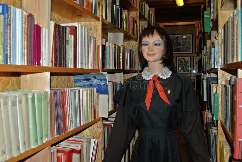 Pionier und Bibliothek im Grutas parken nahe Druskininkai-Stadt lizenzfreie stockfotos