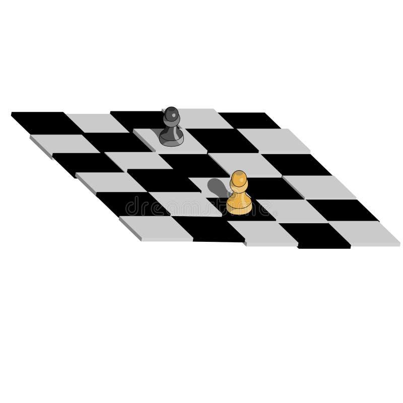 Pionkowie umieszczają na szachowej desce royalty ilustracja