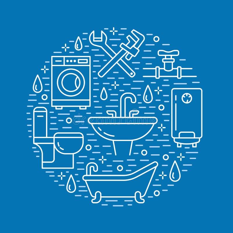 Pionować usługową błękitną sztandar ilustrację Wektor kreskowa ikona domowy łazienki wyposażenie, faucet, toaleta, rurociąg ilustracja wektor