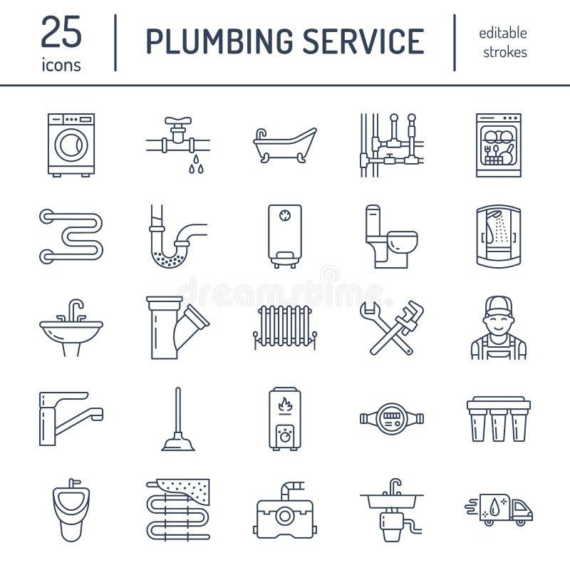 Pionować usługowe wektorowe mieszkanie linii ikony Domowy łazienki wyposażenie, faucet, toaleta, rurociąg, pralka, zmywarka do na ilustracja wektor