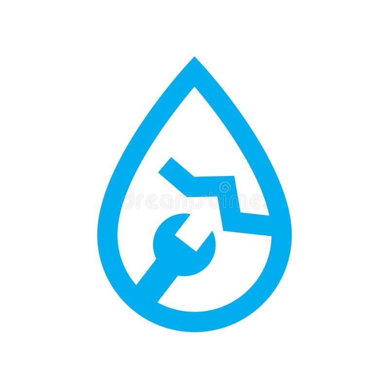 Pionować wodną przeciek naprawy ikonę Błękitny pęknięcie w wodzie i spanner royalty ilustracja