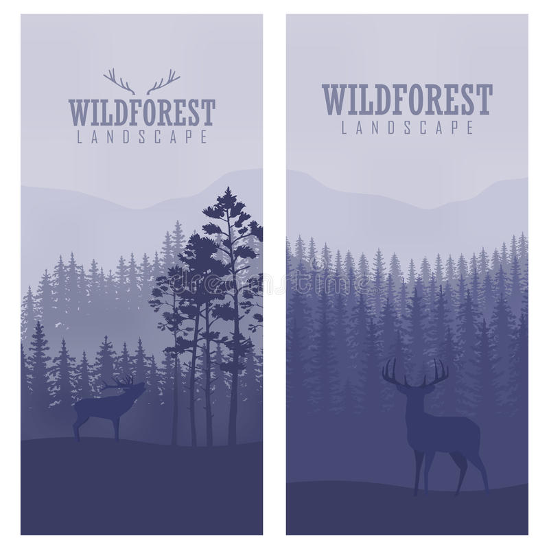 Pionowo abstrakcjonistyczni sztandary dziki rogacz w lesie z bagażnikami drzewa royalty ilustracja