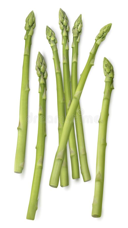 Pionowo asparagusów krótkopędy odizolowywający na bielu obraz stock