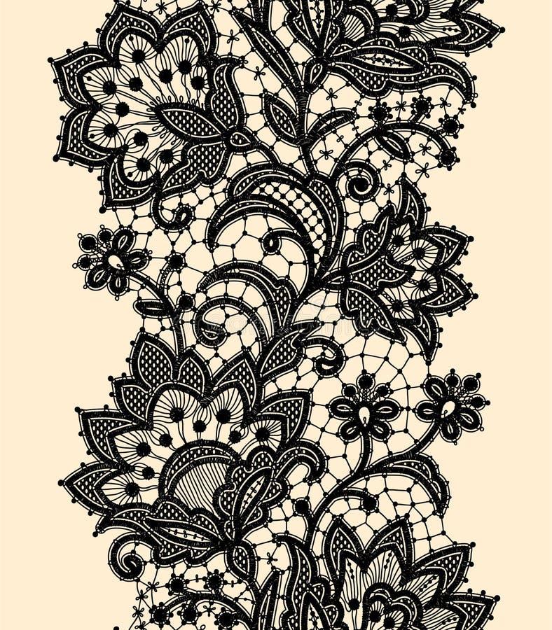 Pionowo bezszwowy wzór czarnej koronki ilustracja wektor