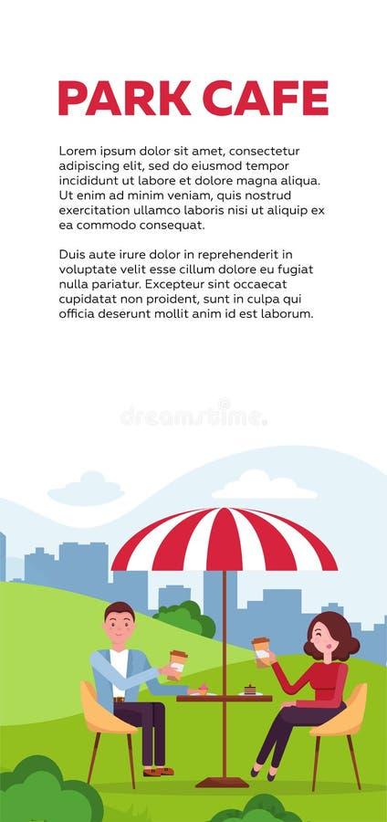 Pionowo broszurka projekt dla parkowej kawiarni para jest relaksująca w plenerowej kawiarni w miasto parku na trawiastym gazonie  ilustracji