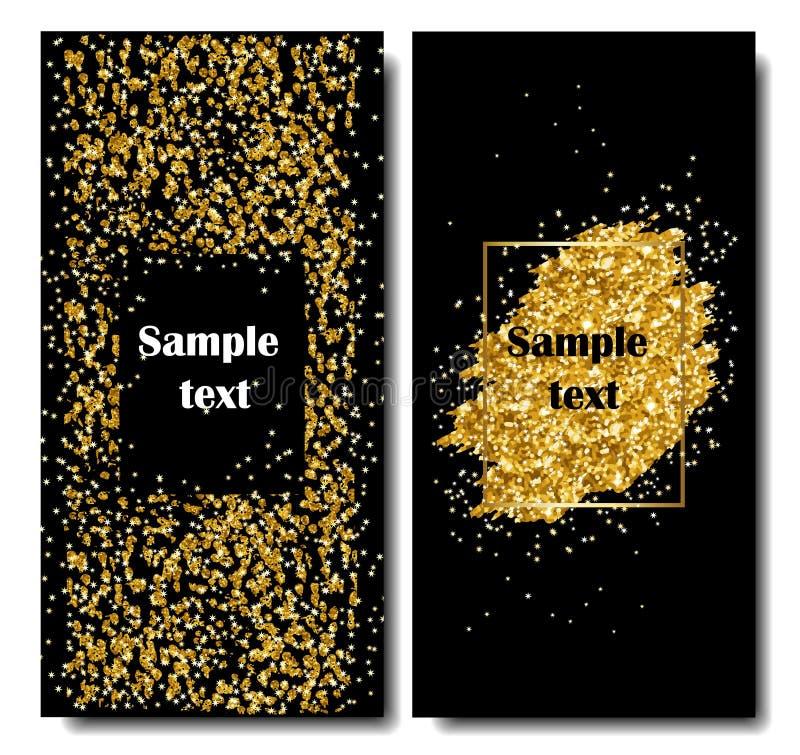 Pionowo Czarni i Złociści sztandary Ustawiający, kartka z pozdrowieniami projekt Złota pyłu wektoru ilustracja Szczęśliwy nowy ro ilustracji