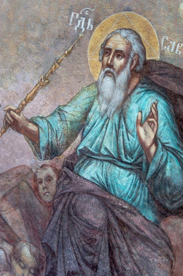 Pionowo czerep malowidło ścienne obraz Sabaoth lub Nadziemski gospodarz zdjęcie royalty free