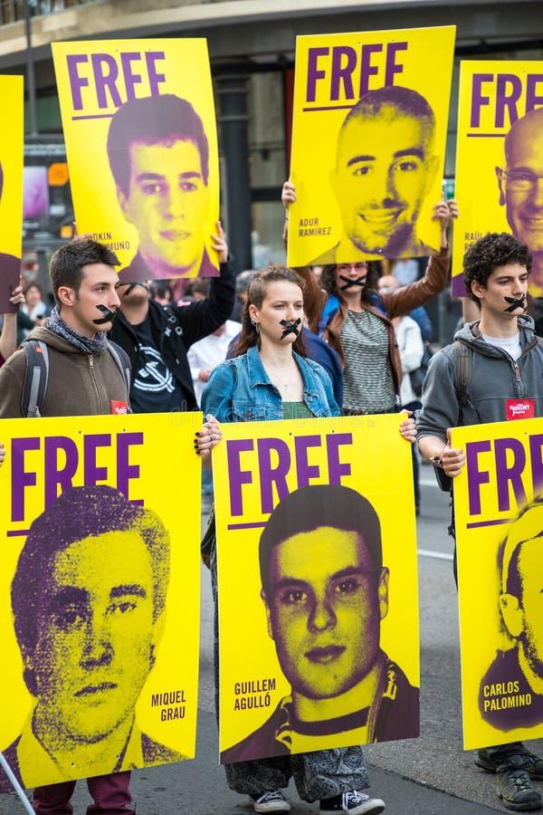 Pionowo fotografia Hiszpańscy Protestors zdjęcie stock