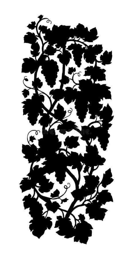 Pionowo gronowego winogradu sylwetka royalty ilustracja