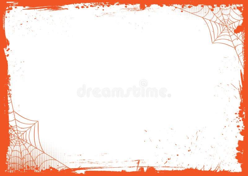 Pionowo Halloweenowy sztandaru tło z grunge spid i granicą ilustracja wektor