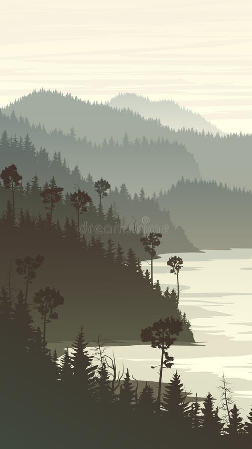 Pionowo ilustracja mgliści lasowi wzgórza na skalistym seashore ilustracji