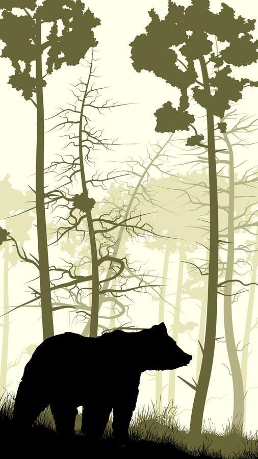 Pionowo ilustracja niedźwiedź na trawiastym zboczu ilustracja wektor