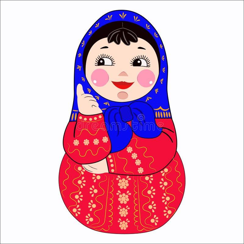 Pionowo ilustracja Rosyjska lala gniazdował lalę na białym tle ilustracja wektor