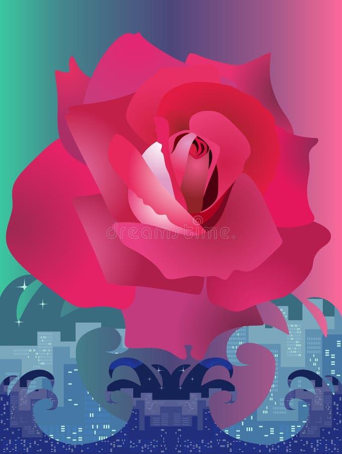 Pionowo karta z wielkim pięknym różanym lataniem nad rozszalałym oceanem który symbolizuje dużego miasto royalty ilustracja