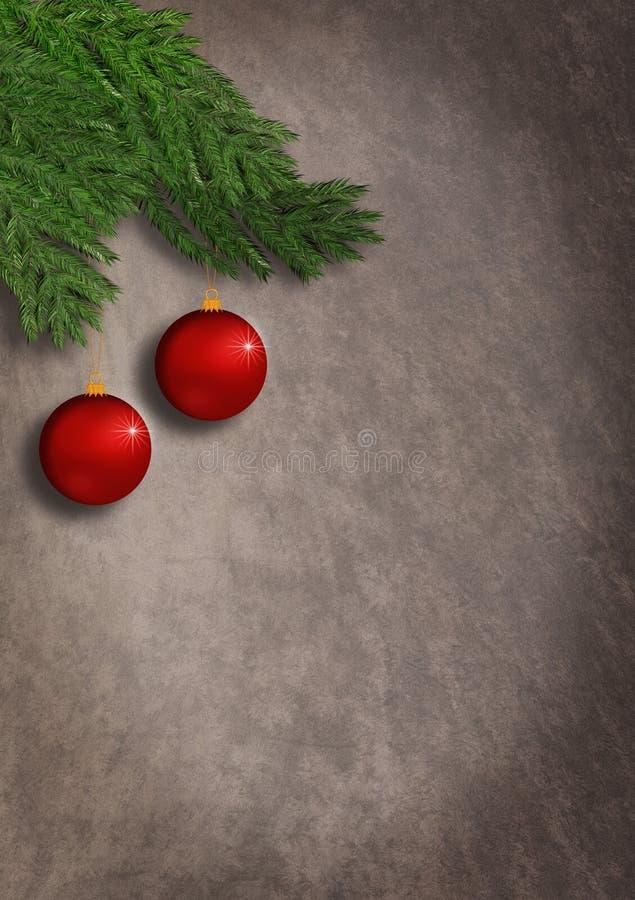 Pionowo kartki bożonarodzeniowa grunge rocznika styl z czerwonymi ornamentami wiesza od świerczyny gałąź royalty ilustracja